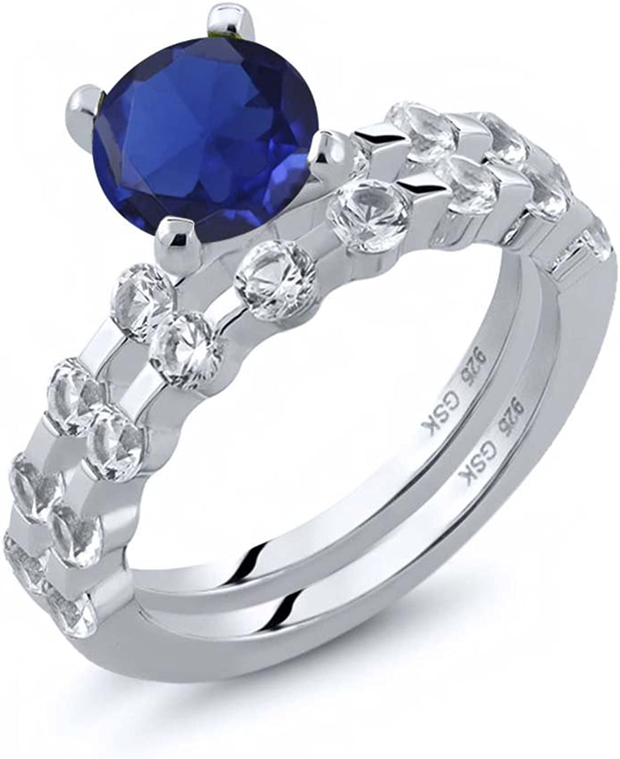 2.95 Ct Round bluee Simulated Sapphire White Topaz 925 Sterling Silver Ring Set