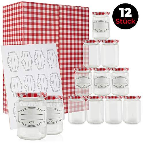 Premium Einmachgläser - inkl. 12 liebevoll designter Etiketten - einem Füllvolumen von 300 ml – im 12er Set – mit traditionellen rot karierten Deckel – zum Einkochen und individuellen verschenken