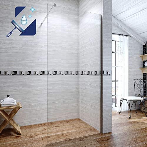 AQUABATOS® 110x200 cm Walk In Dusche 8mm ESG Duschwand Glas Duschabtrennung Duschtrennwand Glastrennwand Glaswand mit Nano Beschichtung