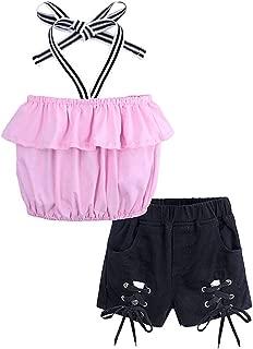 Fairy-Baby Kids Girls Pink Off Shoulder Strap Tube Tops+Black Denim Shorts (Color : Pink, Size : 4)