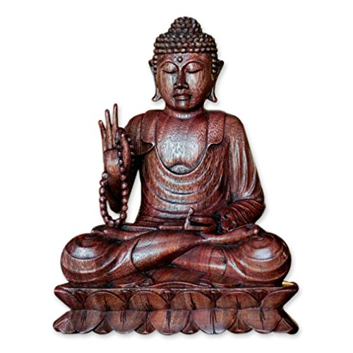 NOVICA Brown Religious Wood Sculpture, 11.75' Tall 'Serene Buddha'
