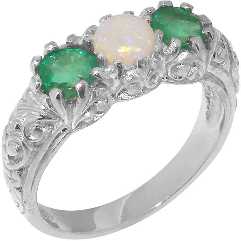 14k White Gold Natural Opal & Emerald Womens Trilogy ring - Sizes 4 to 12 Available