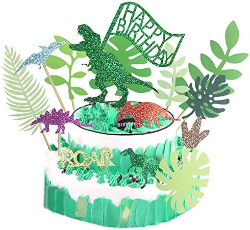 Cute Glitter Dinosaur Happy Birthday Cake Toppers Forest Series Green Tropical Leaves Cupcake product image