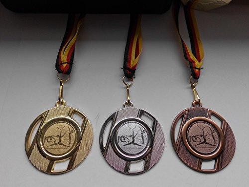 Fanshop Lünen Medaillen Set - Metall 50mm - Turnen - Gold, Silber, Bronze, Bodenturnen - Kinder - Gymnastik - Emblem 25mm - Gold, Silber, Bronce - Medaillenset - mit Medaillen-Band - (e257) -