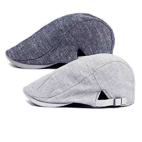 Qossi 2 Pack Men's Cotton Flat Cap Ivy Gatsby Newsboy Hunting Driving Hat Navy/Light Grey