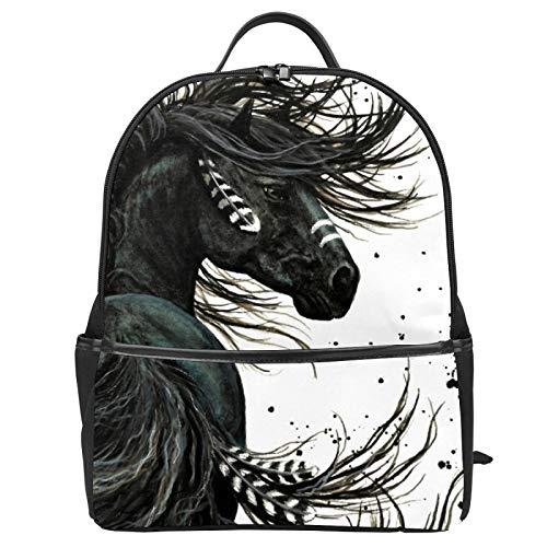 Majestic Spirit Pferde-Schulranzen Rucksack Segeltuch Rucksack Große Kapazität Satchel Casual Travel Daypack für Kinder Mädchen Jungen Kinder Studenten