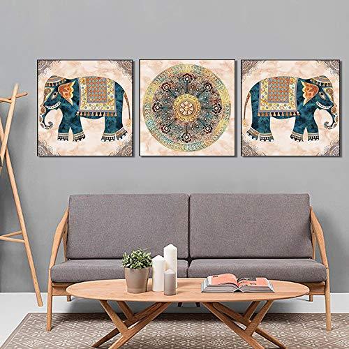Impresiones Sobre Lienzo,Panel 3 Elefante Indio Mandala Póster Abstracta Moderna Decoración De Pared Pintura Arte Pop Imagen Ilustraciones Para Salón Dormitorio Decoracion Manualidades,30X30Cm Sin