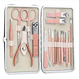 Juego de manicura de 12 piezas de cortaúñas profesionales de herramientas decorativas para el cuidado de los pies - herramientas profesionales de acero inoxidable de belleza, adecuadas para viajes