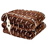 Electric Heated Blanket Throw with 3 Heating Levels & 4 Hours Auto Off,Super Cozy Soft Heated Throw with Fast Heating and Machine Washable,Home Office Use 50' x 60' Moose Pattern