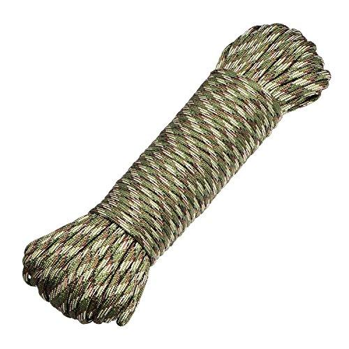 DonDon Corde Paracorde 30 Mètres Ruban de Tissu Lacet de Nylon Bracelet de Survie à Fabriquer et pour Activités de Camping en Extérieur 4 mm – 7 brins Vert foncé-Marron-Sable