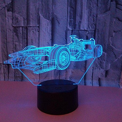 Nachtlampje 3D Racing 7 kleuren Touch afstandsbediening bedlampje bedlampje bedlampje bedlampje LED bijzettafel acryl creatief
