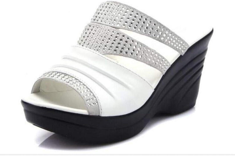 Hoxekle Woman Bling Rhinestone Wedge Platform High Heel Sandals Mother Casual Comfort Open Toe Slides shoes