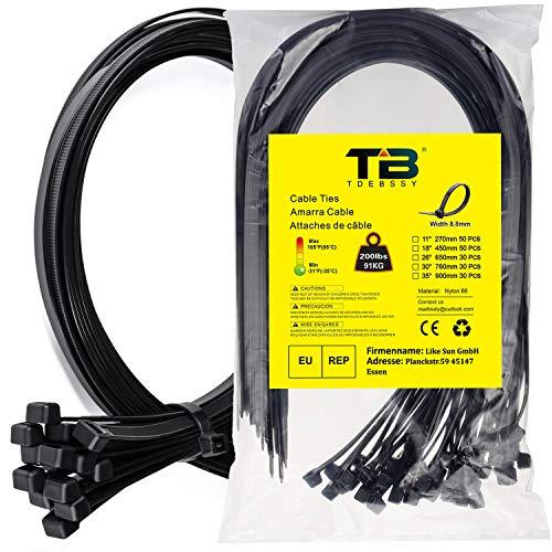 Kabelbinder Schwarz, Kabelbinder 500 mm x 12,4 mm, TDEBSSY 30 Stück Kabelbinder Wiederverschließbar Set, Kabelbinder Set mit 113 kg Zugfestigkeit, Premiumqualität UV-beständiges Set