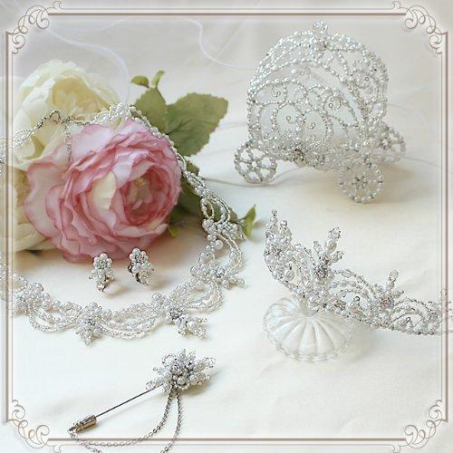 Tiara/ketting/oorbel/reversspeld/ring kussen handgemaakte kit 5 punten (witte parel) (Cinderella)