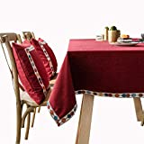 MCZ Wasserbeständige Tischdecke Waschbar Staubdichte, ölbeständige Tischdecken, rot bestickte Tischdecken für Hochzeit/Zuhause/Hotel (140 * 200 cm)