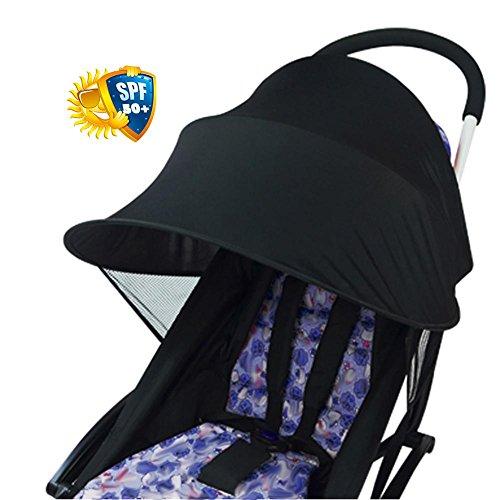 Copertura per passeggino in tessuto anti-UV Yunt Baby, copertura per tettuccio universale per tendalino parasole (nero), protezione antivento antipioggia per protezione solare Accessori universali