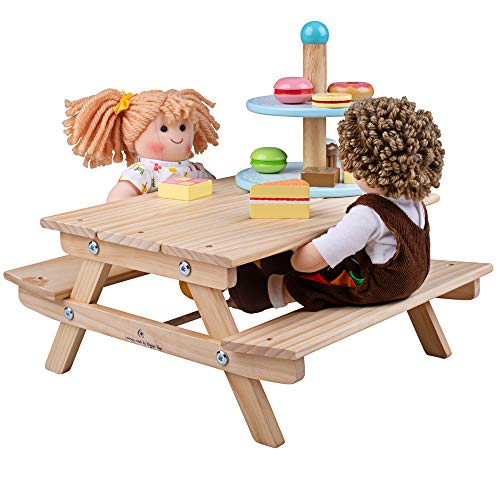 Bigjigs Toys Wooden Dolls Picnic Bench Accessory