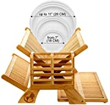 Bamboo Dish Drying Rack Collapsible - New Version 2021 Kitchen Foldable Dish Drainer with Dual Tiers for Air-Drying Plates, Cups and Utensils Holder - Designed in Italy by Earth's Dreams