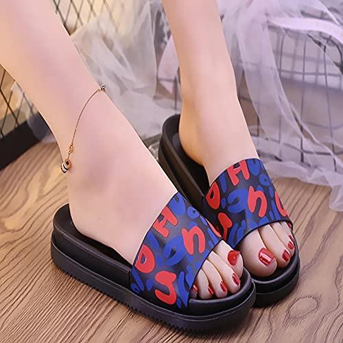 zuecos cross mujer,Zapatillas de fondo grueso de verano de verano, 2021 Nueva versión coreana del salvaje con arco antideslizante de pino de pino de pino Red Moda Sandwalp zapatos, sandalias fuera de