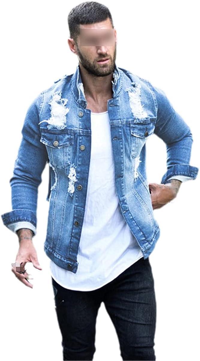 Jeans Jacket Men's Blue Black Denim Jacket Spring And Autumn Streetwear Casual Slim Denim Jacket