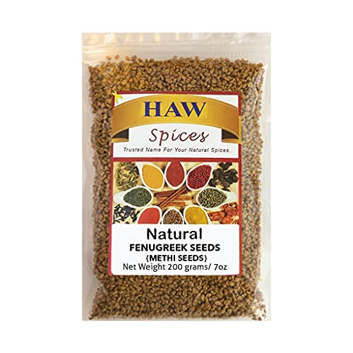 Haw Fenugreek Seeds Natural 7 Oz (200g), All Natural Whole Methi Seeds in Resealable Bag, Non Irradiated Fenogreco En Semillas, Whole Fenugreek Spice for Hair Growth, Cooking & Sprouting