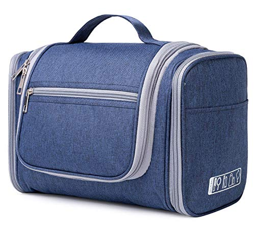 Hanging Toiletry Bag Travel Cosmetic Organizer Shower Bathroom Bag for Men Women Water-resistant (M-Blau)