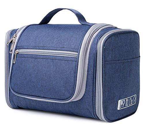 Groß Kulturbeutel Kulturtasche zum Aufhängen für Damen, Herren Waschtasche Reisebeutel Hängend Kosmetikbeutel Frauen, Männer (Denim Blue)