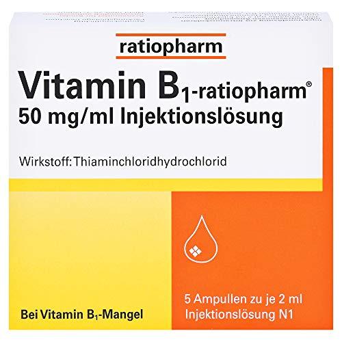 Vitamin B1-ratiopharm 50 mg/ml Injektionslösung, 5 St. Ampullen