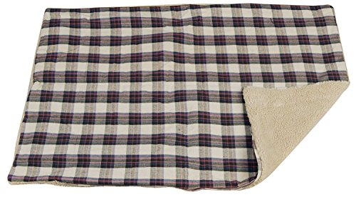 Smart Design Deluxe Pet Bed Cover w/ Zipper Liner - Plaid Polyester Cotton & Fleece - Reversible Design - for Dogs, Cats, & Other Pets - Home (28.5 x 42 Inch)[Plaid]