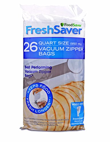 FoodSaver FSFRBZ0236-000R 1-Quart FreshSaver Vacuum Zipper Bags, 26 Count (Package might vary),Clear