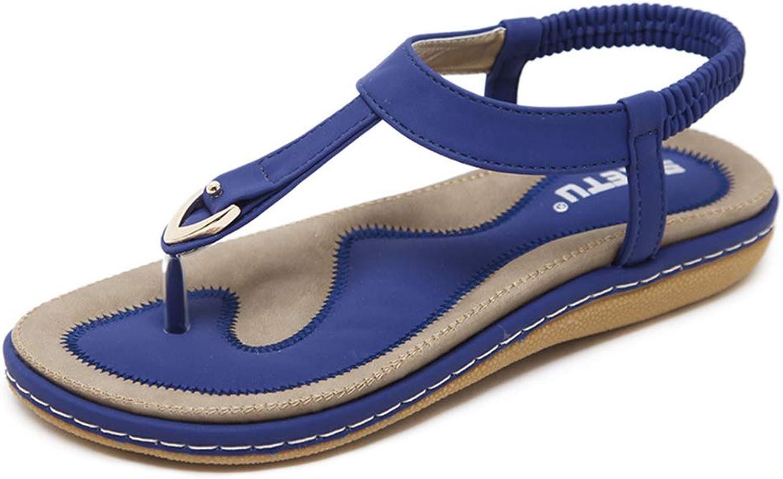 Women's Sandals, Women's shoes Buckle Flat Sandals Open Toe Non-Slip Breathable Lining Women's Sandals,bluee,41