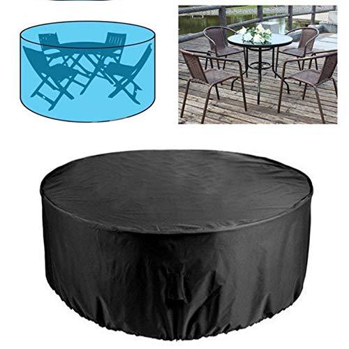 Amusingtao - Funda para muebles de jardín, redonda, impermeable, resistente, circular para muebles de patio, refugio, antiUV, para mesa de comedor, antipolvo