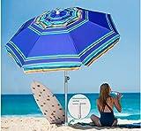 AMMSUN 7 Foot Heavy Duty HIGH Wind Beach Umbrella with sand anchor & Tilt Sun Shelter, UV 100+ Protection Outdoor...