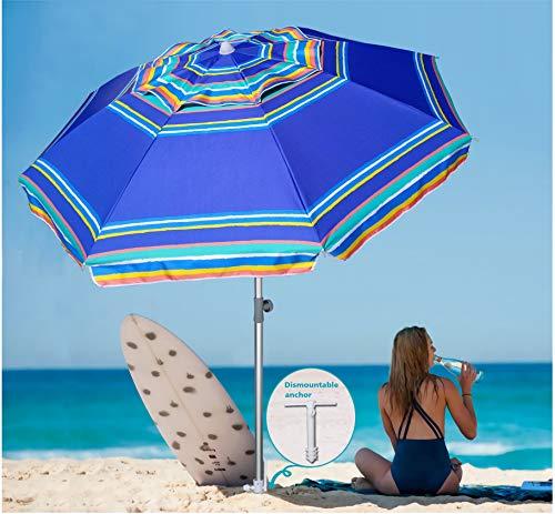AMMSUN 7 Foot Heavy Duty HIGH Wind Beach Umbrella with sand anchor & Tilt Sun Shelter, UV 100+ Protection Outdoor Sunshade Umbrella with Carry Bag for Patio Garden Beach Pool Backyard Stripe Blue