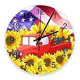 Reloj silencioso de 10 pulgadas para decoración de pared, relojes de madera vintage que no hacen tictac, fáciles de leer para oficina / cocina / dormitorio / sala de estar / aula, bandera estadouniden