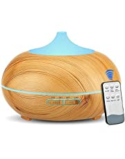 Smartoid Aromatherapy Diffuser 500ml Remote Control Cool Mist Humidifier Ultrasonic Aroma Essential Oil Diffuser Office Home Bedroom Living Room Study Wood Grain 7 Colors LED Light (Brown)