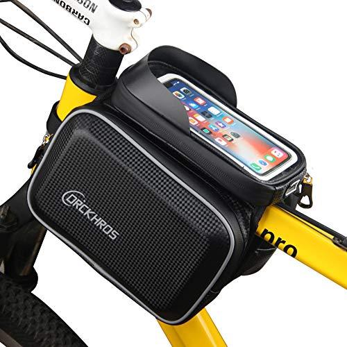HAOXIU Bolsa para cuadro de bicicleta, resistente al agua, para manillar de bicicleta, poliuretano EVA, carcasa rígida, pantalla táctil, bolsa para teléfono