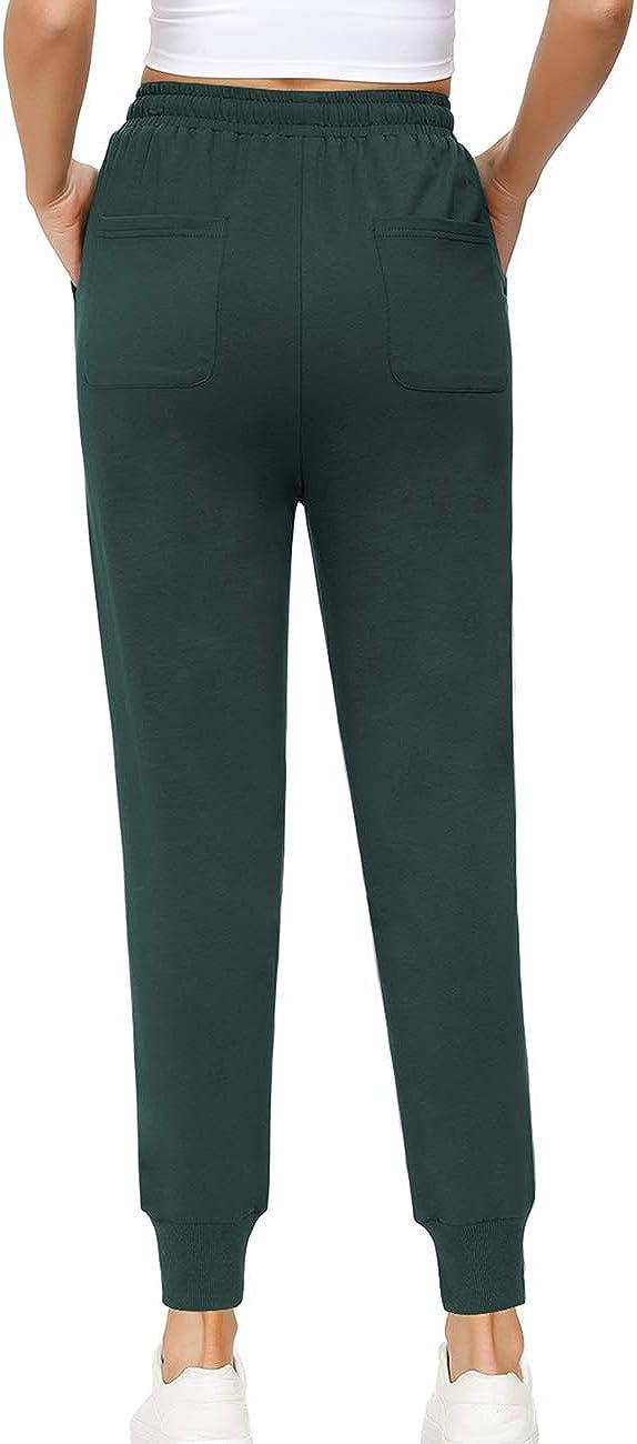 Yidarton Damen Jogginghose Baumwoll Sporthose High Waist Trainingshose Slim Fit Elastischer Bund Freizeithose Sweatpants mit Taschen
