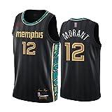 LYY Jerseys De Baloncesto para Hombres, Memphis Grizzlies # 12 JA Morant - Chaleco Clásico Tops Comfort Transpirable Deporte Sin Mangas Camiseta Uniformes,Negro,L(175~180CM)
