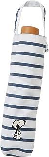 小川(Ogawa) 折りたたみ 晴雨兼用ワンポイント刺繍日傘 手開き 50cm ピーナッツ スヌーピー ボーダー ネイビー UV加工 はっ水 91116