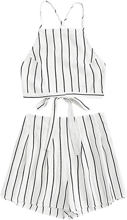 ORANDESIGNE Shorts und Crop Tops Sets Damen Sommer Strand Zweiteiler Schulterfrei Sunflower Printed Beachwear Chiffon Boho /Ärmellos 2 Teiliges Outfit