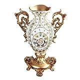 Escritorio Florero de Moda Jarrón de resina vintage europea, florero de diamantes tallados binaural 3D, jarrones de decoración casera, jarrón decorativo alto pintado a mano, para decoración de bodas y