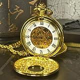 XVCHQIN Skeleton Relojes de Bolsillo mecánicos Hombres Marca Antigua Collar de Viento de Mano Reloj de Bolsillo Cadena de Reloj de Oro, TDPK061