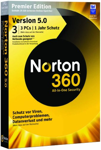 Norton 360 V5 - premier édition (3 postes, 1 an) [import allemand]