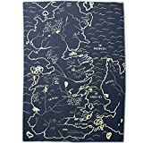 NuffSaid GoT Westeros Thrones Map Sherpa Lined Microfiber Fleece Throw Blanket (Navy, 58x80)