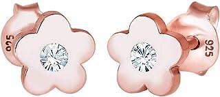 Elli Pendientes para niñas flores con cristal Swarovski® en plata de ley 925