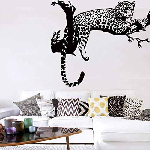 Muurstickers Animal Wild Zoo Luipaarden Cheetahs Staart Muursticker Woonkamer Vinyl voor Kids Kamer Home Decor 56 * 69 cm