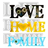 Jimiston 3 Stück Love/Home/Family Epoxidharz Formen, 3D Harz Gießen Formen Set, Tischdekoration Kunstharz Silikonform, Resin Mold Handwerk, Kreatives Geschenk für Valentinstag Weihnachten