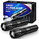 Flashlights [2 Pack], LED Tactical Flashlight S1000 - High Lumen, 5 Modes, Zoomable, Water Resistant, Handheld Light - Best Camping/Outdoor/Hiking/Emergency/Gift-Giving (Batteries Not Included)(Black)
