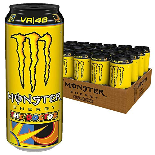 Monster Energy The Doctor Valentino Rossi Edition mit prickelndem Zitrusgeschmack, Energy Drink Palette, EINWEG Dose (24 x 500 ml)